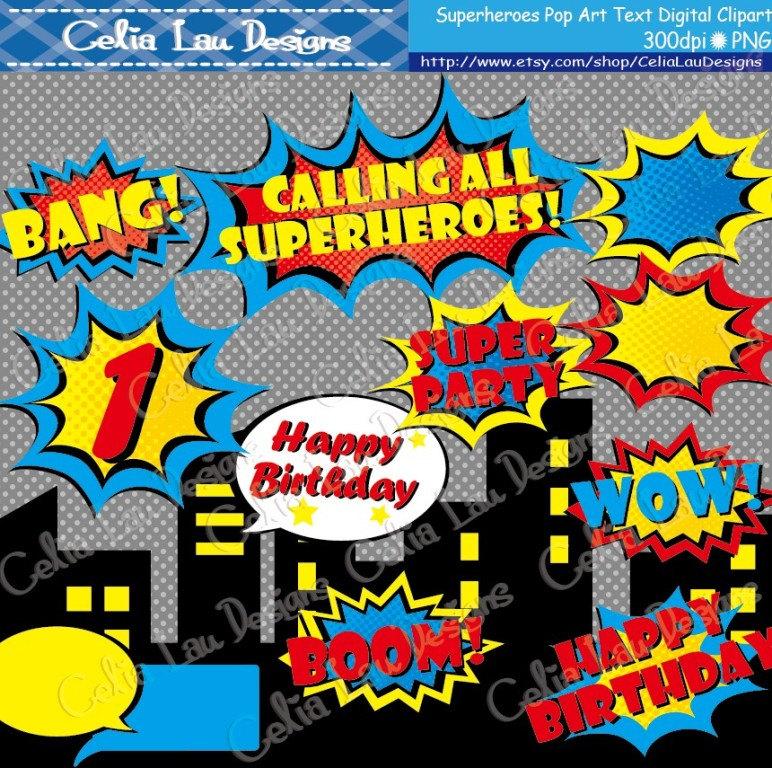 Comics clipart superhero Superheroes book clipart Party pop