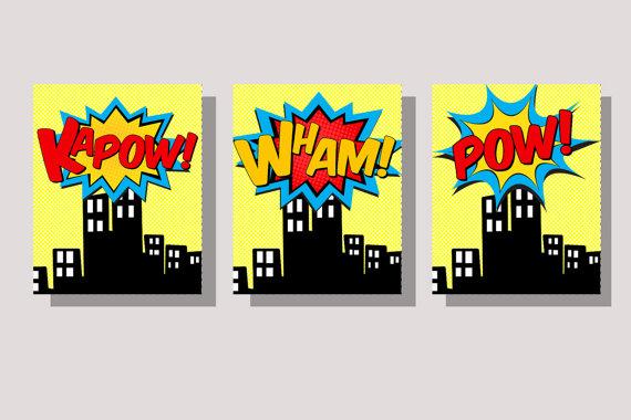 Pop Art clipart city Instant Pop Wall Superhero Superhero