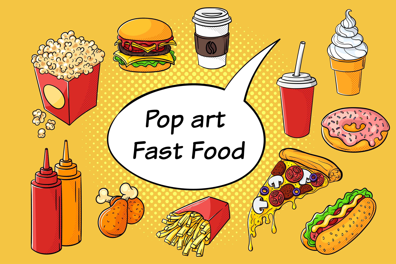 Pop Art clipart junk food ~ Market Fast  Icons