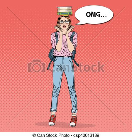 Pop Art clipart student Her on Books of on
