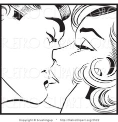 Pop Art clipart vector Kissing and Clipart Man and