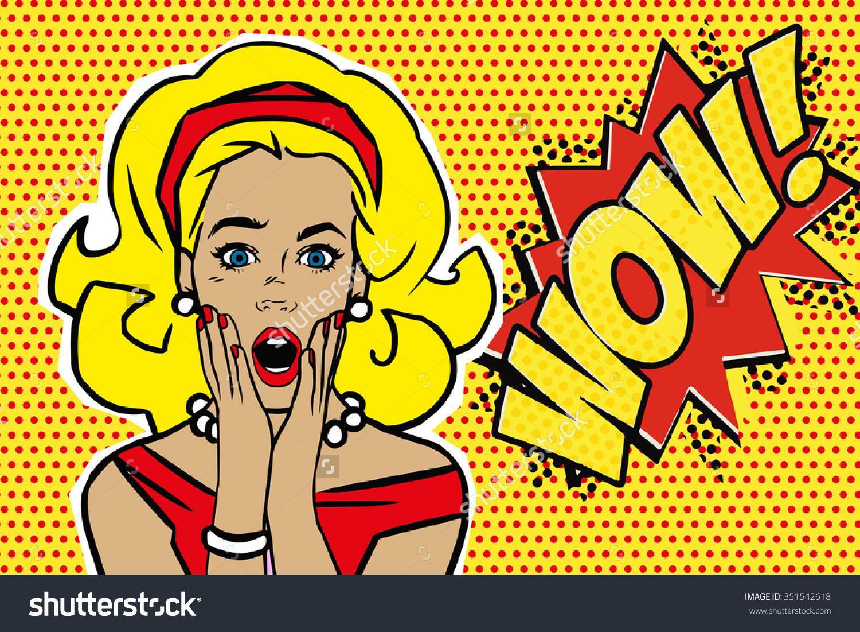 Pop Art clipart wow Mouth vector stock woman pop