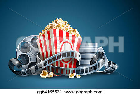 Popcorn clipart blue Eps10 shadows and Illustration Clipart