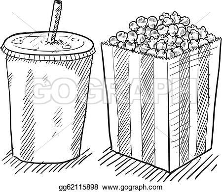 Popcorn clipart coke Illustration style Vector movie popcorn