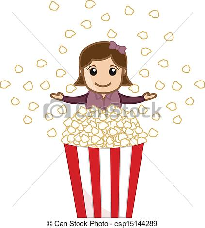 Popcorn clipart cute Of Girl of with Popcorn