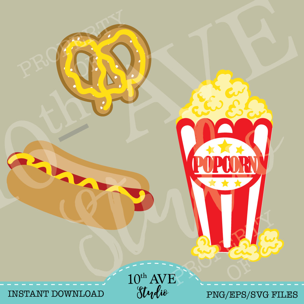 Popcorn clipart fair food SVG/PNG/EPS Carnival~Movies~Fair files cut and