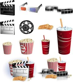 Popcorn clipart movie party  chocolate ticket includes blank