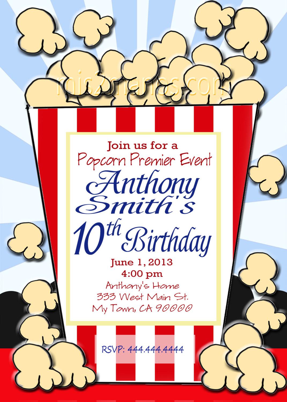 Popcorn clipart movie party Print Party Invitation Movie Popcorn