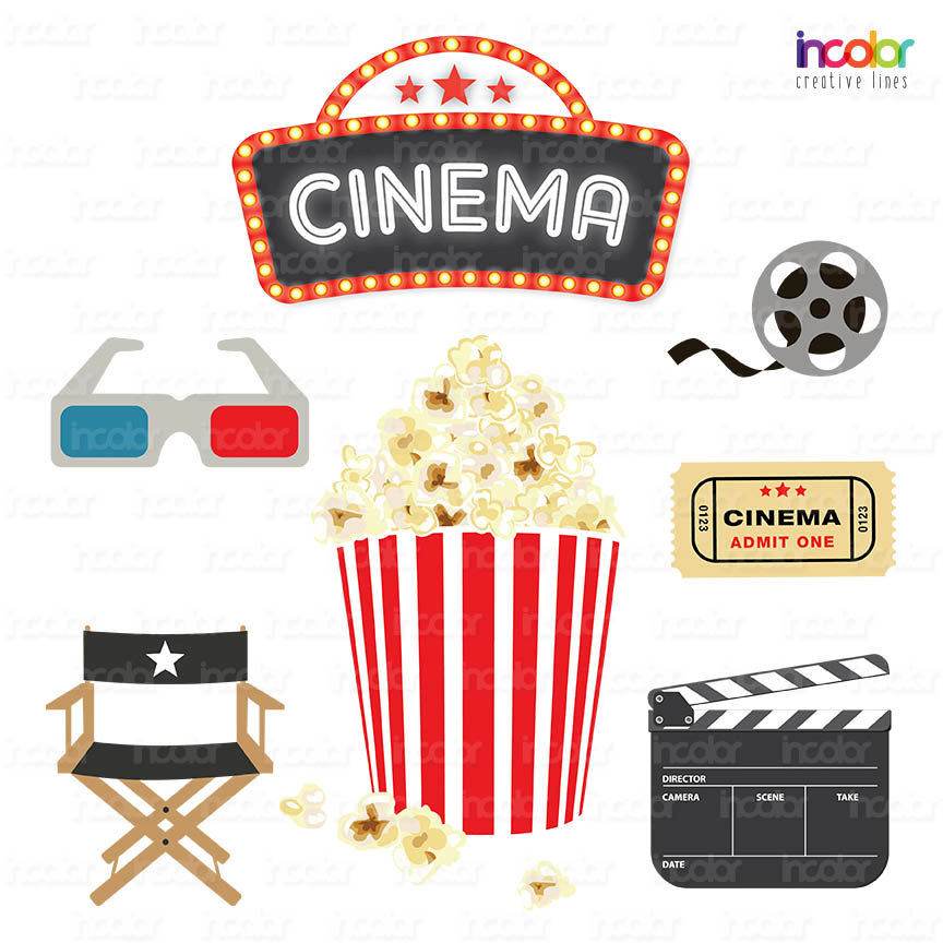 Popcorn clipart movie party  printable Clipart Party Theater
