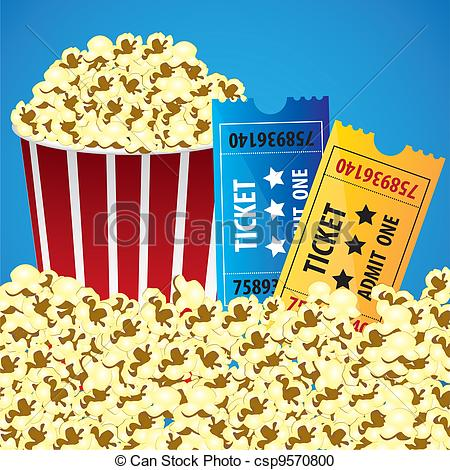 Popcorn clipart ticket Background cine with csp9570800 Pop