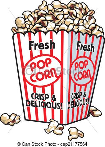 Popcorn clipart vector Fresh box popcorn A