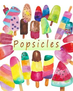 Popsicle clipart banana Watercolor nursery Popsicles Clipart watercolor