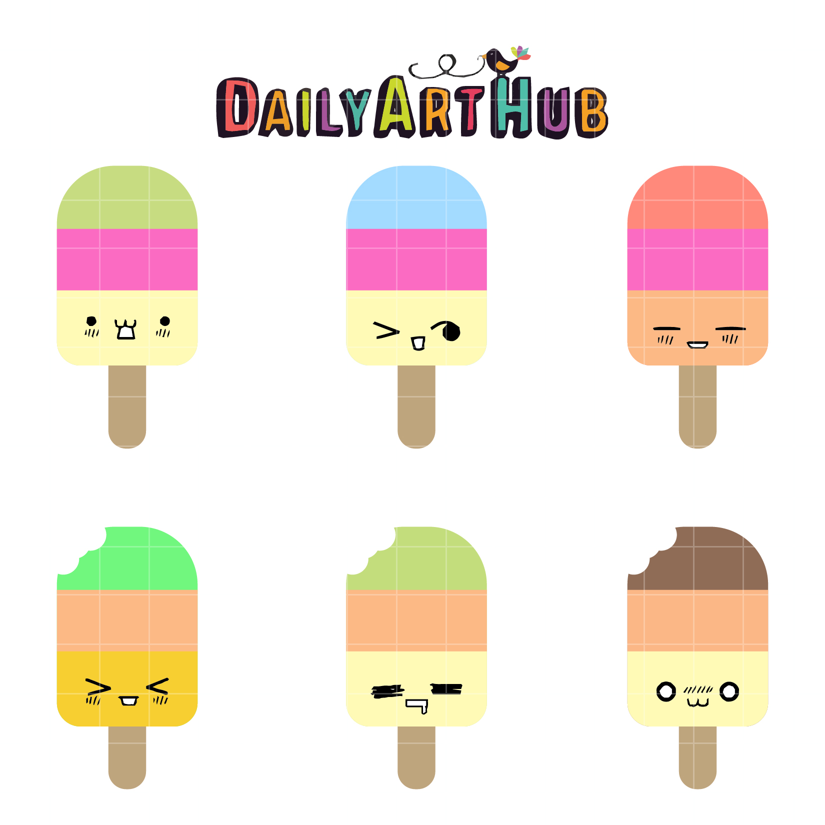 Cart clipart popsicle Cute Daily Hub Art Popsicles