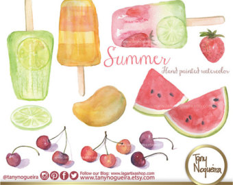 Popsicle clipart freeze pops Clipart fruits Watercolor Organic Etsy