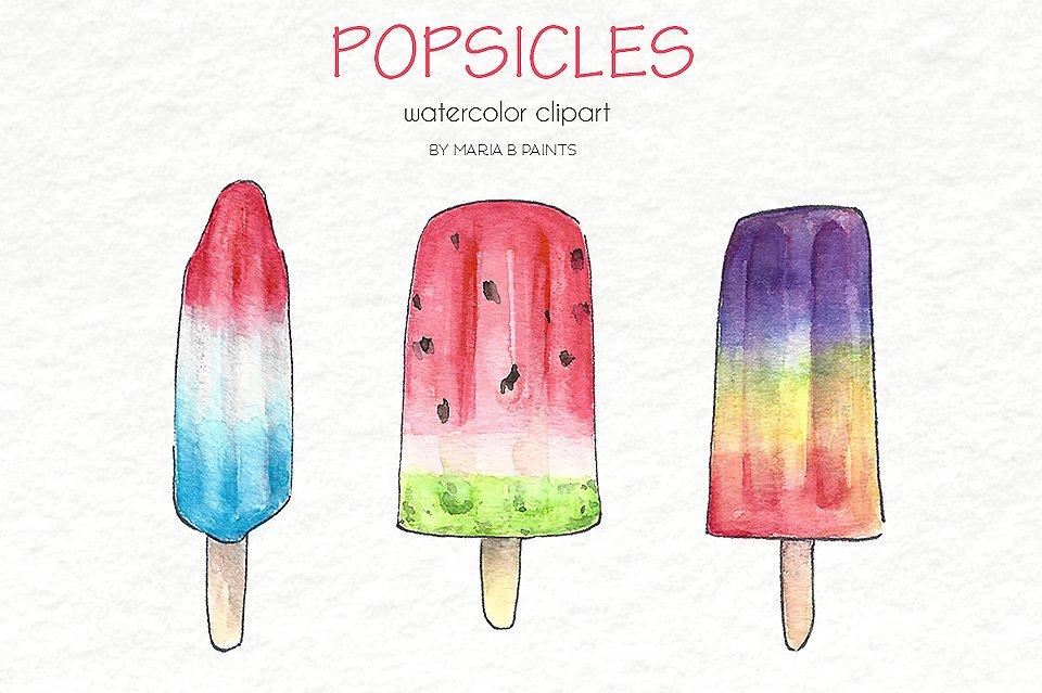 Popsicle clipart rocket Watercolor Clip Illustrations Creative Art