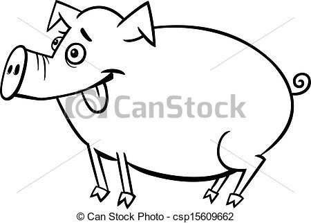 Pork clipart farm animal For Black coloring cartoon White