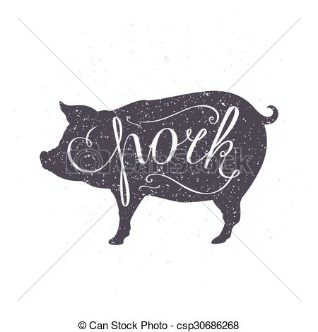 Pork clipart piece meat Of meat csp30686268 silhouette style