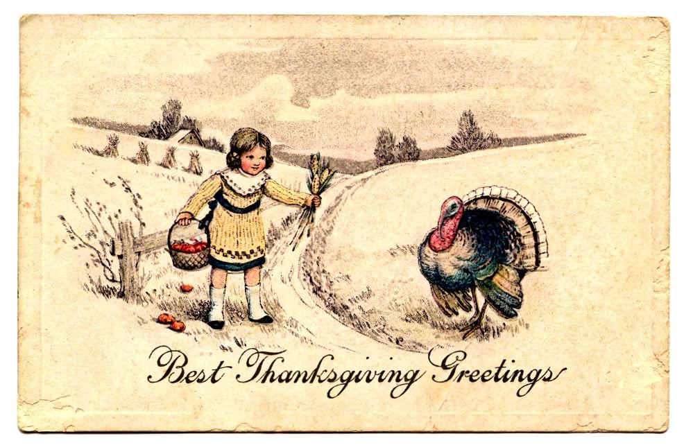 Postcard clipart art Thanksgiving Postcard Turkey – Clip
