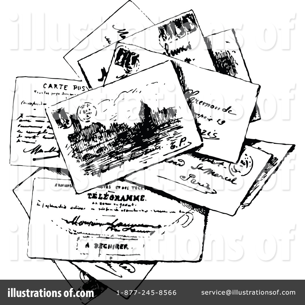 Postcard clipart black and white By Clipart #1145864 Postcard Clipart