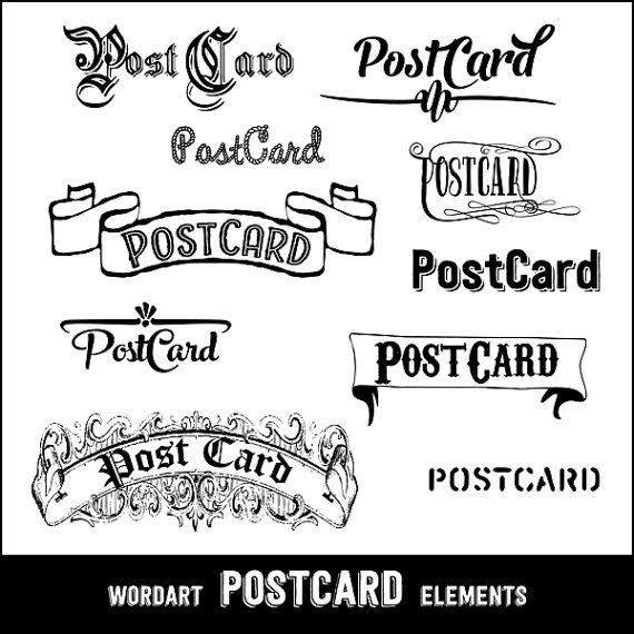 Postcard clipart black and white Postcards Digital  clipart Elements