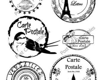 Postcard clipart postmark Postmark Vintage Digital Overlay Transfer
