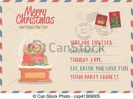 Postcard clipart postmark Postcard Vector and Clipart