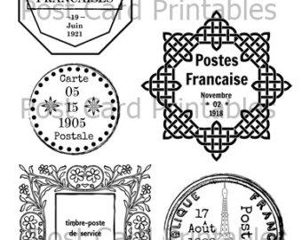 Postcard clipart postmark Cancellation Vintage Overlay Printable PostCard