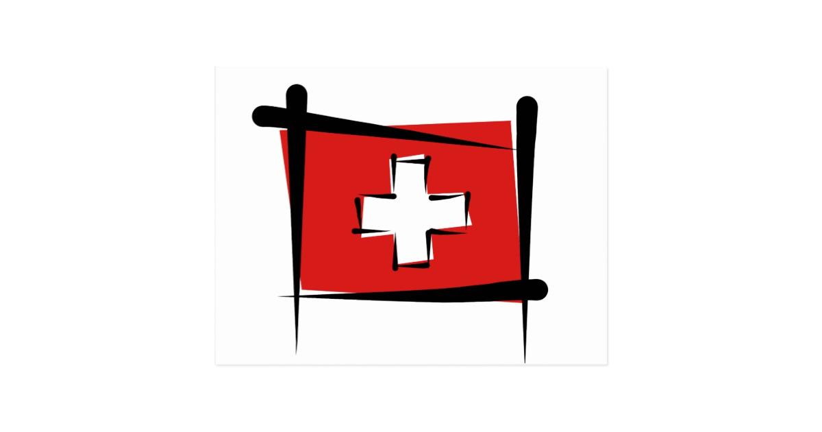 Postcard clipart switzerland Switzerland Flag Postcard Brush Zazzle