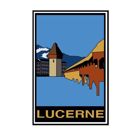 Postcard clipart switzerland Vintage retro Postcard Lucerne card