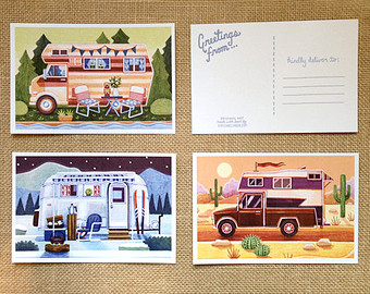 Postcard clipart travel postcard Set Camping Travel Etsy Postcard