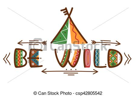 Poster clipart native Words wild of with EPS