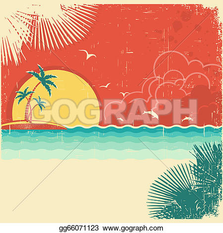 Seascape clipart tropical background #15