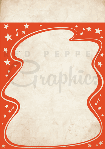 Poster clipart template Vintage  template Red style