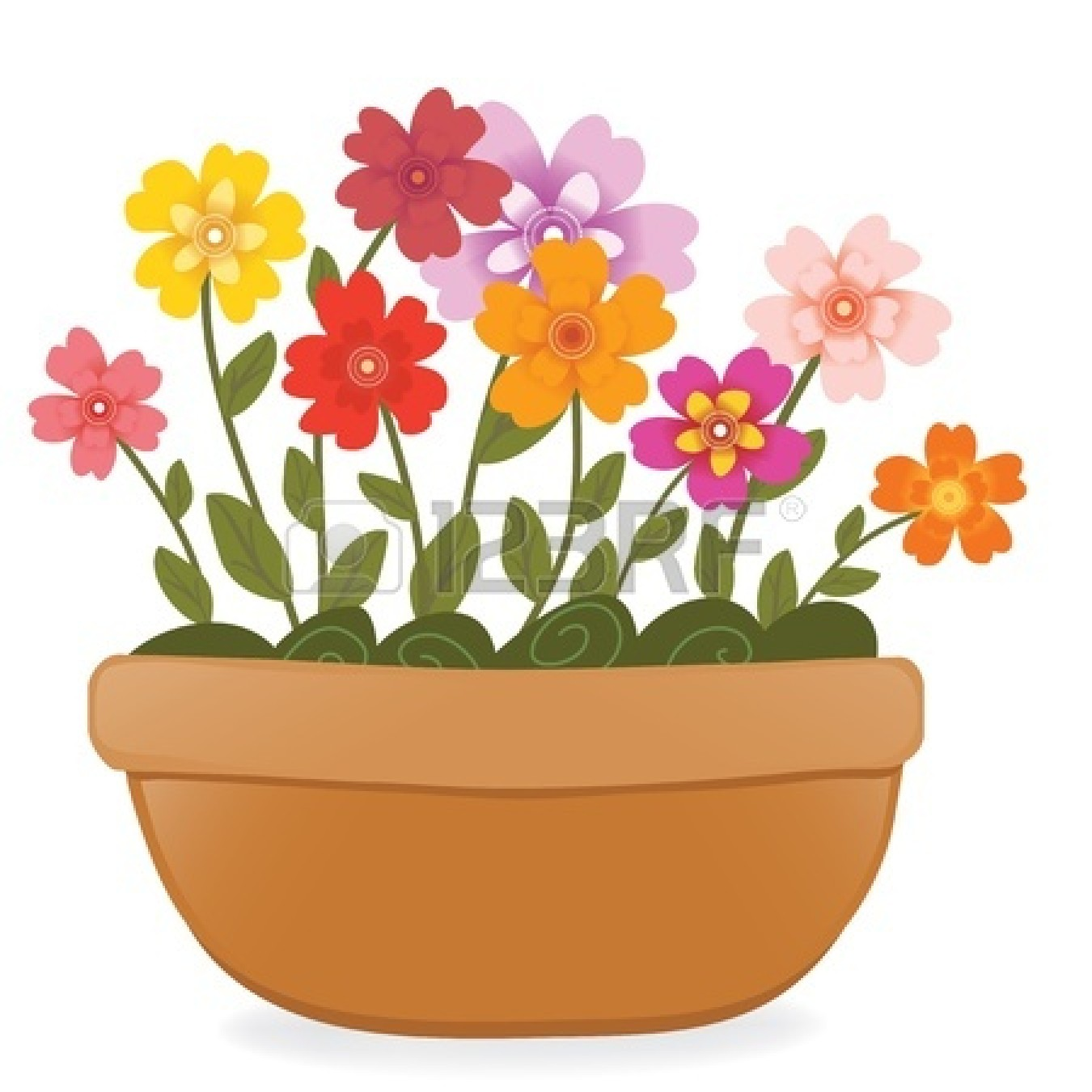Drawn pot plant clipart Outstanding Flower Full Also Clipart
