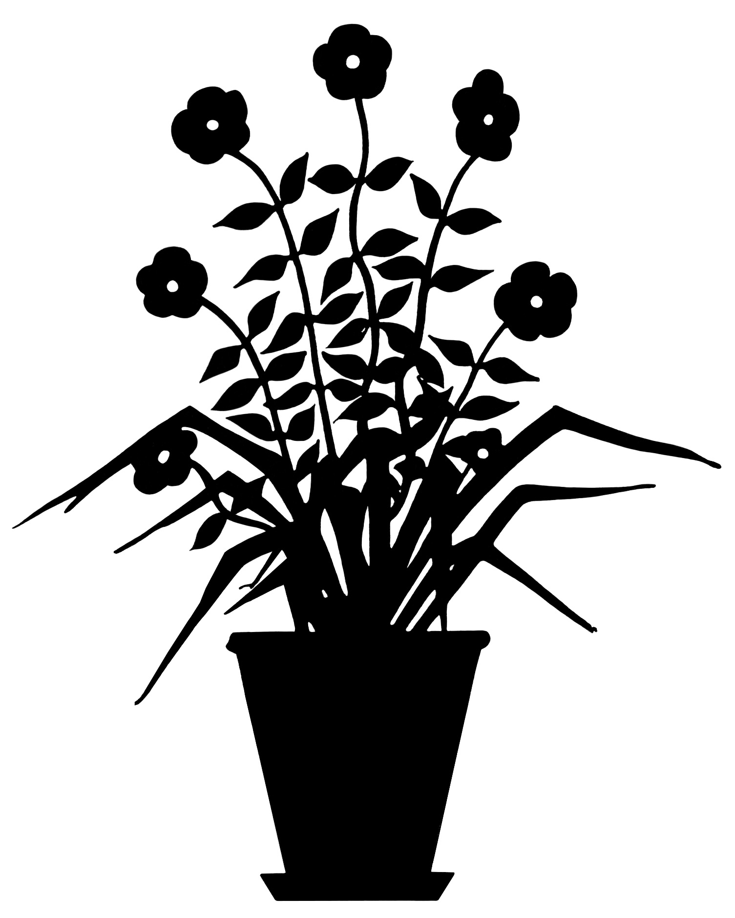 Drawn pot plant black and white And art flower flowering in
