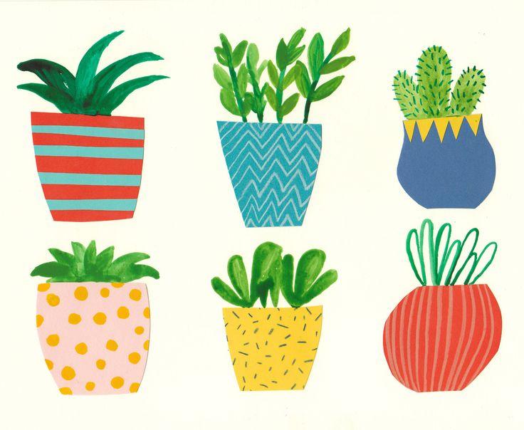 Drawn pot plant graphic Plants Cocker Pots Pots and