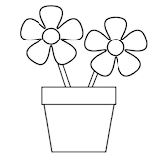 Drawn pot plant coloring page Coloring Simple Coloring Simple images