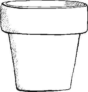Drawn pot plant the word Flower Word flower Word pot