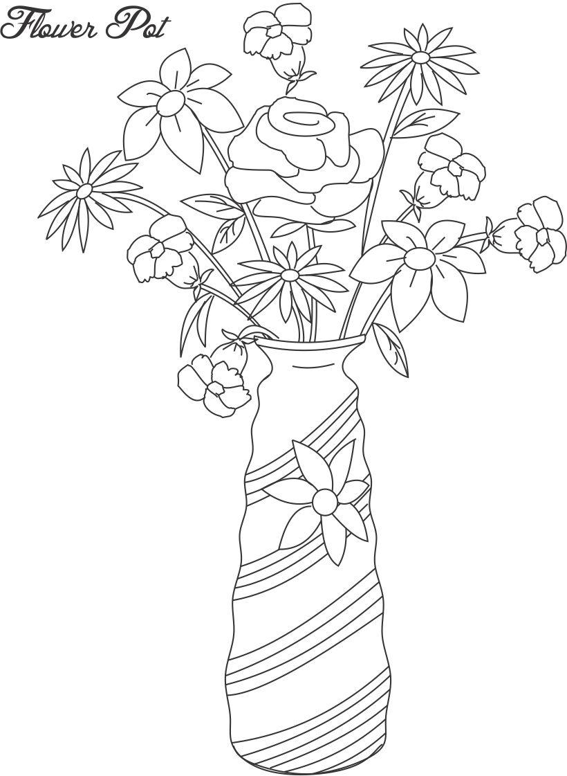 Drawn pot plant coloring page  Coloring Sheets Coloring flower