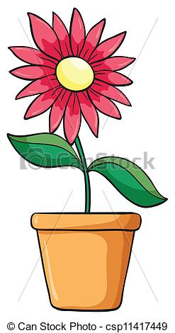 Drawn pot plant graphic A in illustration a of