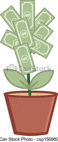 Drawn pot plant money sign Pot Money Pot Money with