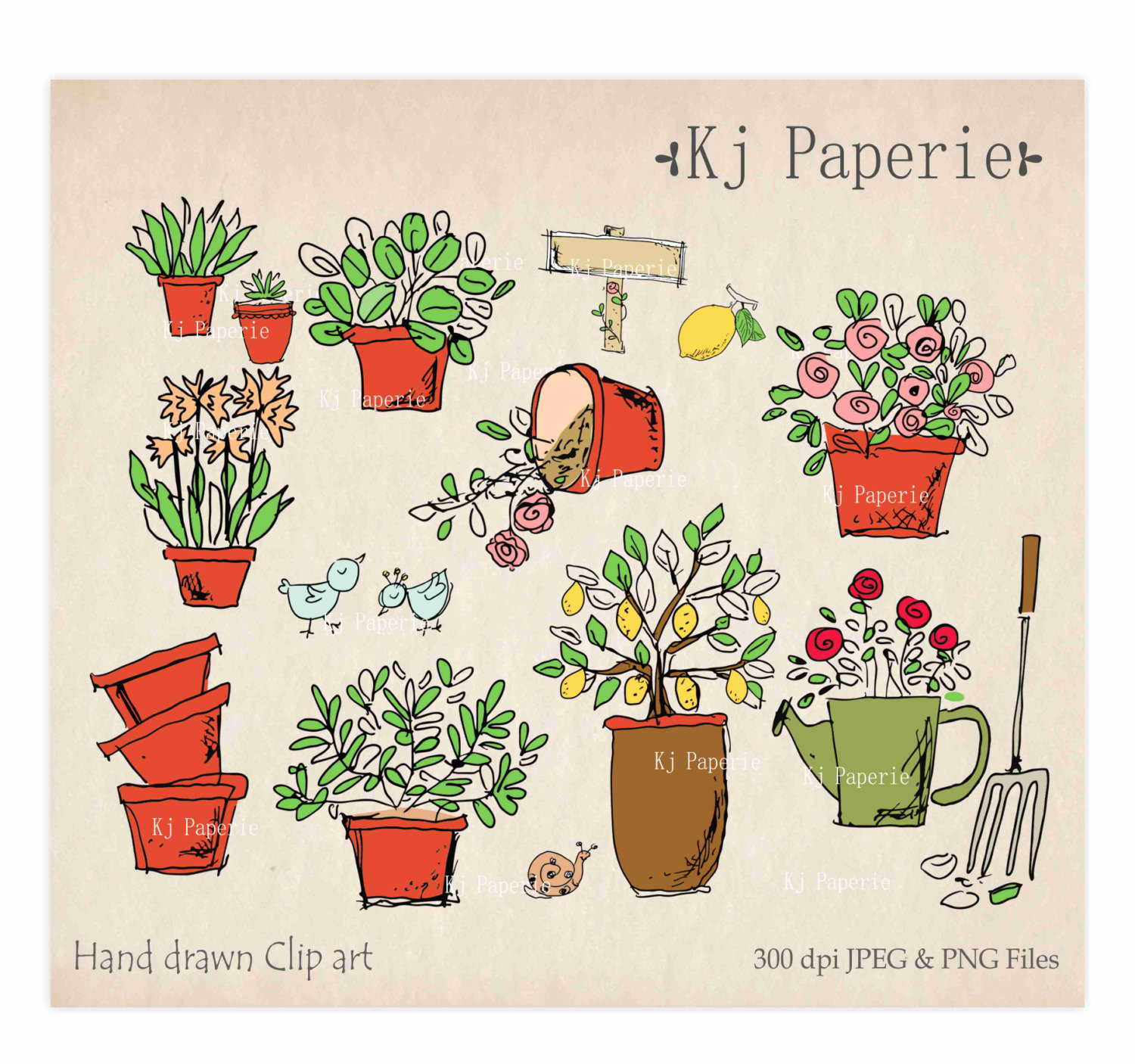 Drawn pot plant clipart Hand flowers This clip plants