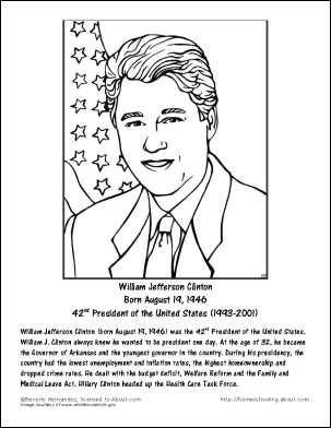 Presidents clipart bill clinton Worksheets J William and Worksheets