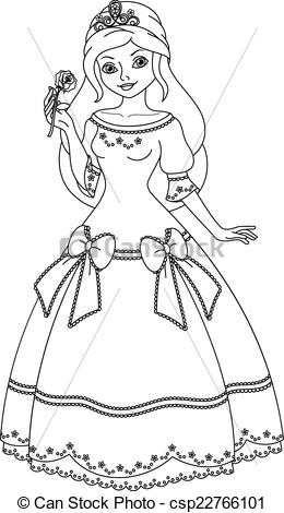 Beautiful clipart black and white Black And Princess collection White