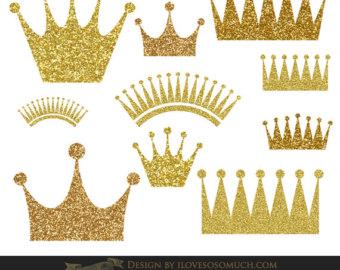 Princess clipart gold Glitter scrapbooking crowns Gold crown