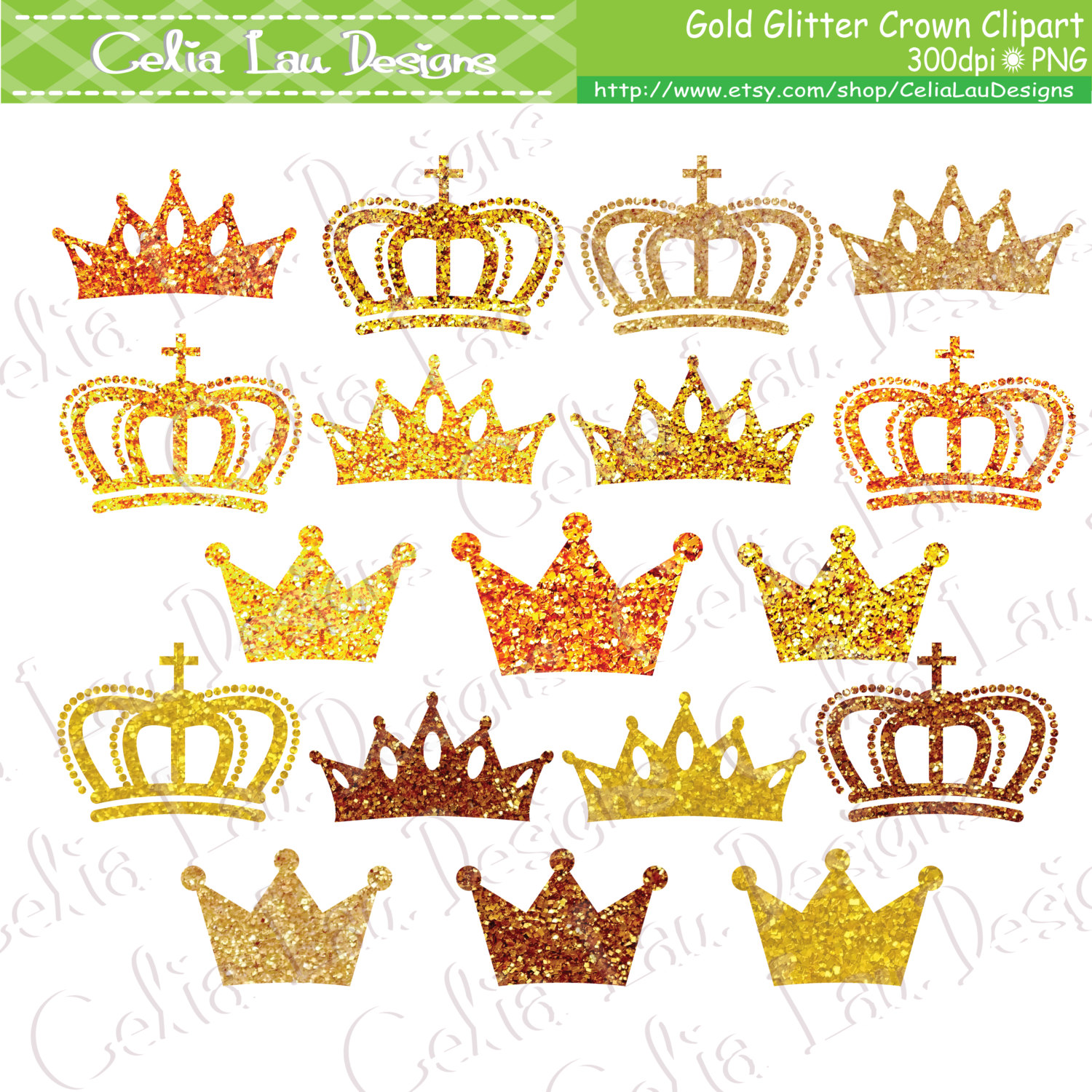 Princess clipart gold Glitter Gold Crowns Gold crown