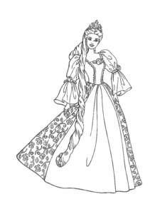 Princess clipart outline  Free vector Images Coloring