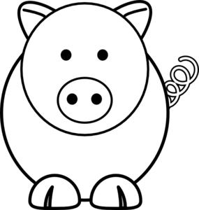 Simple clipart pig #9