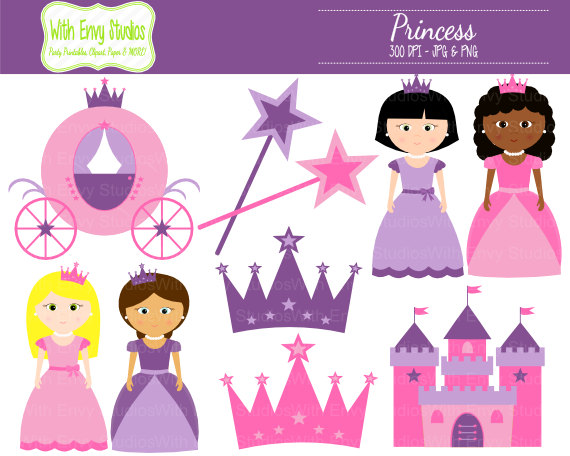 Castle clipart pink purple Clip Castle Crown Princess Princess