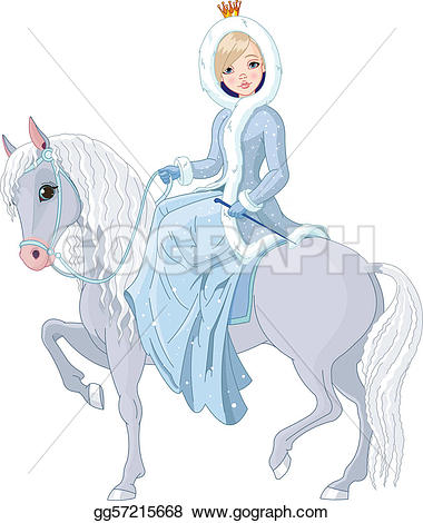 Winter clipart princess Illustration riding horse riding gg57215668